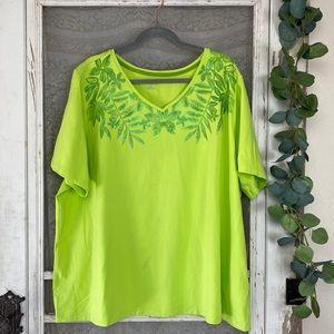 Catherines Green Sparkle Floral Leaf V Neck Tee 2X